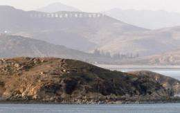 The North Korean shore is seen from the South Korean island of Yeonpyeong