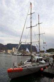 The schooner Tara is moored in the harbour in Cape Town