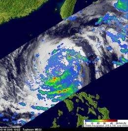 Typhoon Megi's heavy rainfall witnessed by NASA as it moves into the South China Sea