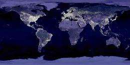 Undated image of Earth's city lights released by NASA