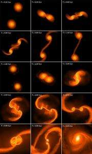 When galaxies collide:  How the first super-massive black holes were born