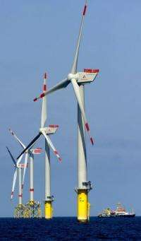 Windmills of the alpha ventus offshore wind farm near the North Sea island Borkum