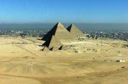 An aerial view taken of the Gyzeh pyramids near Cairo