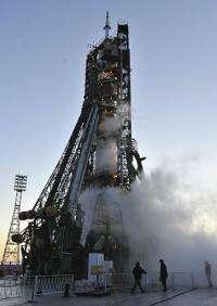 A Russian Soyuz TMA-18 rocket is seen in preparation for launch at Kazakhstan's Russian-leased Baikonur cosmodrome