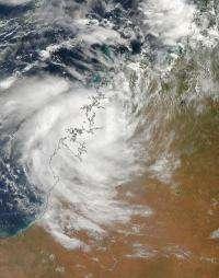 Terra satellite captures cyclone Magda's Australian landfall