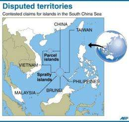 Map showing the disputed Spratly and Paracel islands in the South China Sea