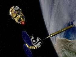 DART flight demonstrator, top left, rendezvous with the MUBLCOM satellite, bottom right, in orbit