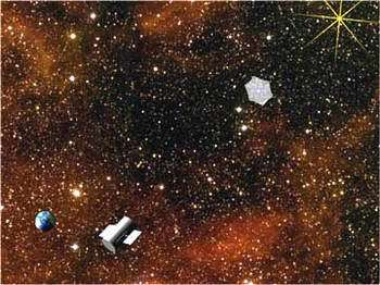 An artist's rendition of a single starshade-collector pair searching a star system for Earth-like planets