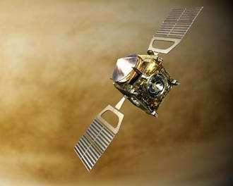 Artist's impression of the ESA spacecraft Venus Express in orbit around Venus, launch date 26 October 2005.