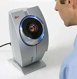 User looking into iris scanner to activate device