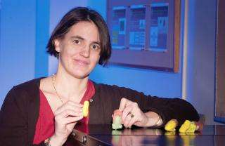 Clarkson University Associate Professor of Electrical and Computer Engineering Stephanie C. Schuckers, with imitation fingers
