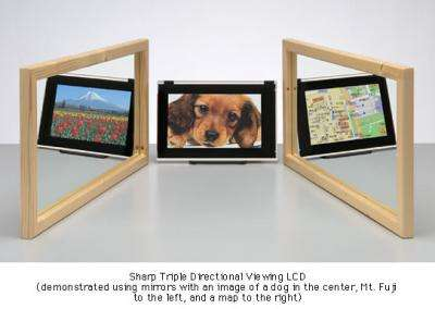 Sharp Triple Directional Viewing LCD Offers Simultaneous Display of 3 Images
