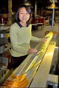 "Mei Bai with a RHIC ""snake"" magnet."