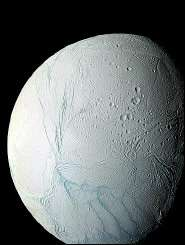This March 2006 NASA Cassini space probe mosaic image shows Saturn\'s moon Enceladus