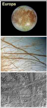 Europa, and detail of its icy surface. (NASA images.)