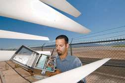 Device determines how well wind turbines operate