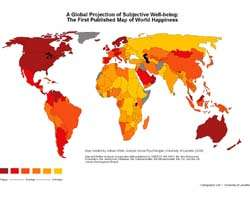 World Map of Happiness Produced