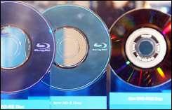 Blu-ray discs on display