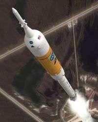 Artist rendering of Ares I rocket in flight