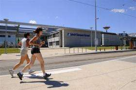 People are seen jogging in central France