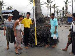 Scientists assess flooding and damage from 2008 Myanmar cyclone