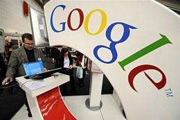 A visitor checks out Google's Book Search site at the Google stand of the Frankfurt Book Fair in 2008