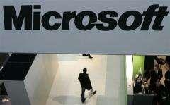 Microsoft logo is seen at a trade fair