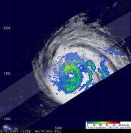 NASA's TRMM satellite sees wide-eyed Hurricane Bill strengthening
