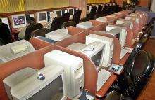 Almost empty internet cafe in South Korea