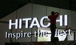 A logo of Japanese electronics giant Hitachi