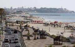 A picture shows Tel Aviv's sea front promenade on the Israeli Mediterranean coastline