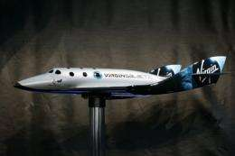 A scale model of the Virgin Galactic SpaceShipTwo