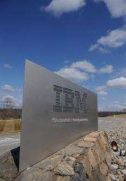 A sign marks the entrance to IBM Corporate Headquarters