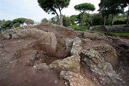 British archaeologists work at the discovered ruins outside Ostia