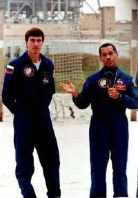 Charles Bolden (R) in January, 1994, accompanied by Russian mission specialist Sergei Krikalev