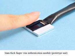 Hitachi develops a 3mm thin-type finger vein authentication module