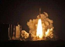 Japan's H-2B rocket carrying the unmanned HTV transportation vehicle launches