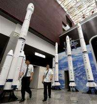 Models of the Long March rocket at the Sichuan Science and Technology Museum in Chengdu