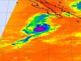 NASA's infrared satellite sees warmer cloud tops in Tropical Storm Marty