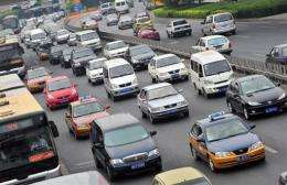 Rush hour traffic on a major road in Beijing