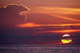 Sunset is seen over the sea