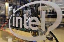 The logo of US semi-conductor company Intel