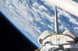 This image provided by NASA, shows a partial view of Space Shuttle Endeavour
