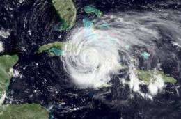 This NOAA satellite image shows Hurricane Ike in 2008
