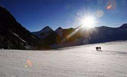 Unidentified mountaineers outside Mount Everest's advance base camp