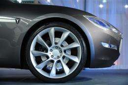 View of a Tesla electric sports car