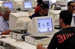 Brazilian internet users at a cybercafe in Sao Paulo
