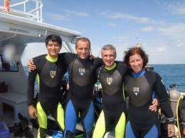 (R-L) Shannon Walker, Steve Squyres, David Saint-Jacques and Takuya Onishi