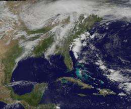 GOES-13 satellite eyeing system with a high risk of severe storms