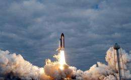 The space shuttle Endeavour lifts off from the Kennedy Space Center on May 16